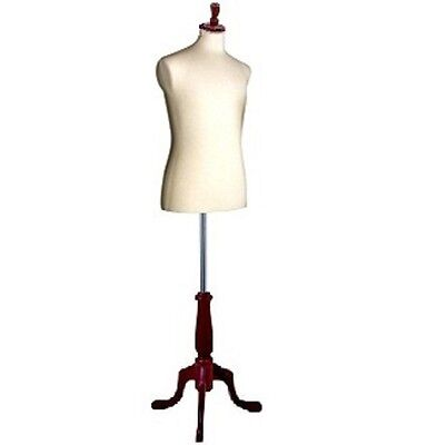 Male White Jersey Covered Dress Form With Walnut Base New In Box