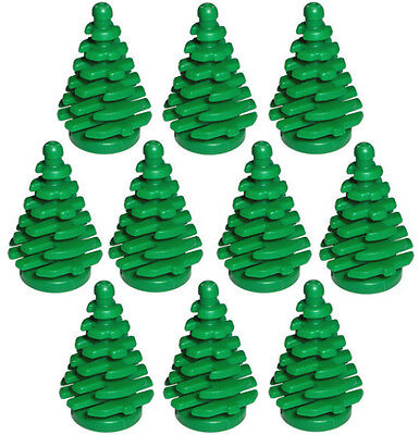 10 NEW LEGO PINE TREES small christmas village parts pieces green 2x2 x4 2435 ()
