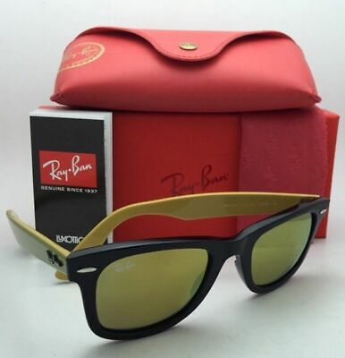 New RAY-BAN WAYFARER Sunglasses RB 2140 1173/93 50-22 Black Frame w/ Gold (Ray Ban Wayfarer Gold Frame)