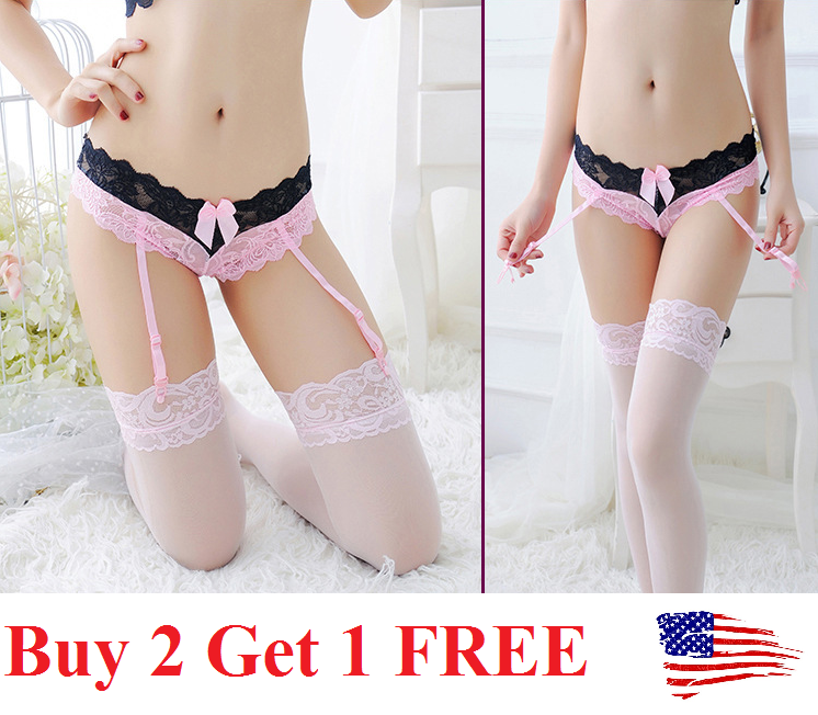 Sexy Women's Lace Garter Belt Stocking G-string Lingerie Thigh-Highs Stockings Clothing, Shoes & Accessories