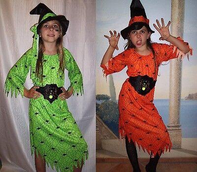 Hexenkostüm NEON-Grün / Orange mit HUT GÜRTEL + - Grüne Hexen Kostüm