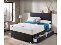 BRAND NEW DOUBLE OR KING DIVAN BASE ONLY 39 POUNDS -- BED AND MATTRESS HEADBOARD AND STORAGE DRAWERS