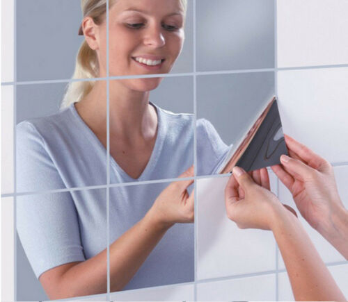 Home Decoration - Glass Mirror Tiles Wall Stickers Self Adhesive Reflective Bathroom Home Decor