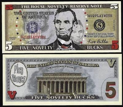 Lot of 100 Bills- Five Novelty Bucks, Play Money Dollar House Novelty Note - Play Money 100 Dollar Bills