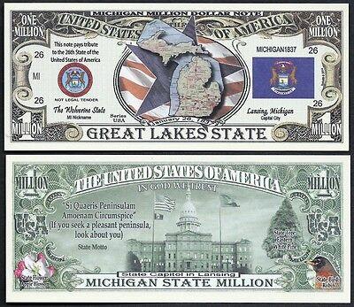Lot of 100 BILLS- MICHIGAN STATE MILLION DOLLAR BILL w MAP, SEAL, FLAG, CAPITOL