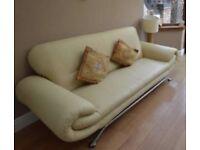 Faux cream leather 3 seater sofa