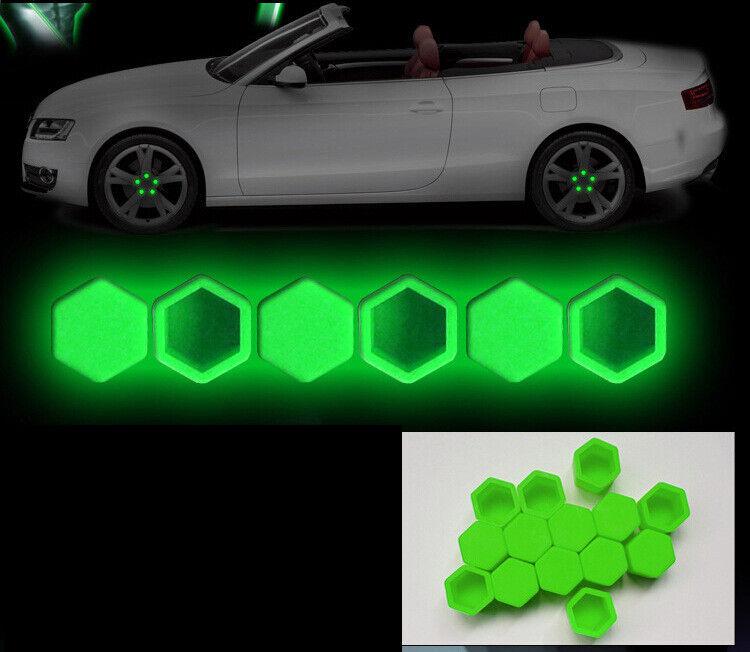 17mm Radschrauben Kappen-Set Grün fluoreszierend Silikon Radmutterkappen 20 Stk