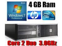 HP PC Desktop, C2D 3.0GHz, 4GB Ram, 250GB HD