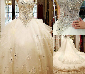 Ball Gown Beads SWAROVSKI Luxury Crystals Cathedral Train Wedding Bridal Dress