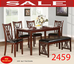 wood dining tables, arm chairs,  bench, 2459 6pc, meuble valeur