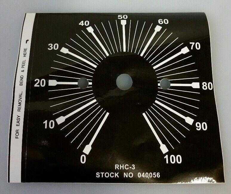 MILLER WELDING RHC-3 040056 REMOTE HAND AMPERAGE CONTROL DIAL STICKER DECAL