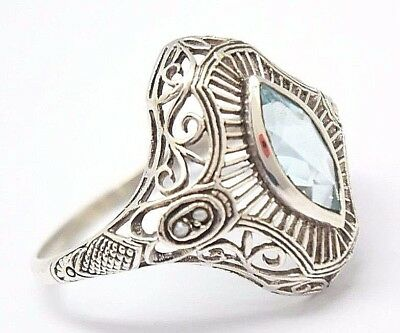Blau Topas Ring Blau Topas &  Perlen 925 Sterling Silber   ANTIK STYLE  # 57 (Antike Sterling Silber)