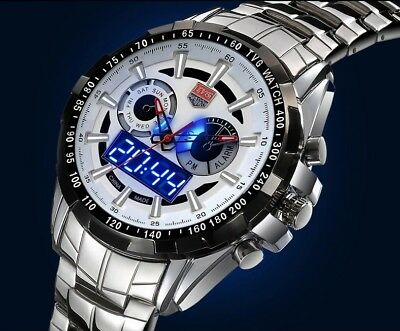 Tvg Stainless Steel Mens Fashion Blue Binary Led Watch 30Am Water Resist  White