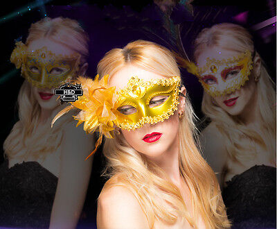 Gold Lace Flower Venetian Halloween Masquerade Ball Carnival Eye Masks Party Hot
