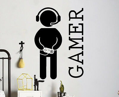 Gamer Wall Vinyl Decal Video Games Sticker Joystick Playroom ideas Art (7gm7r)](Chalkboard Ideas)