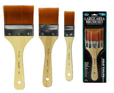 Royal Brush Gold Taklon Flat Large Area Brushes Artist Supply 3Pc Rart 140