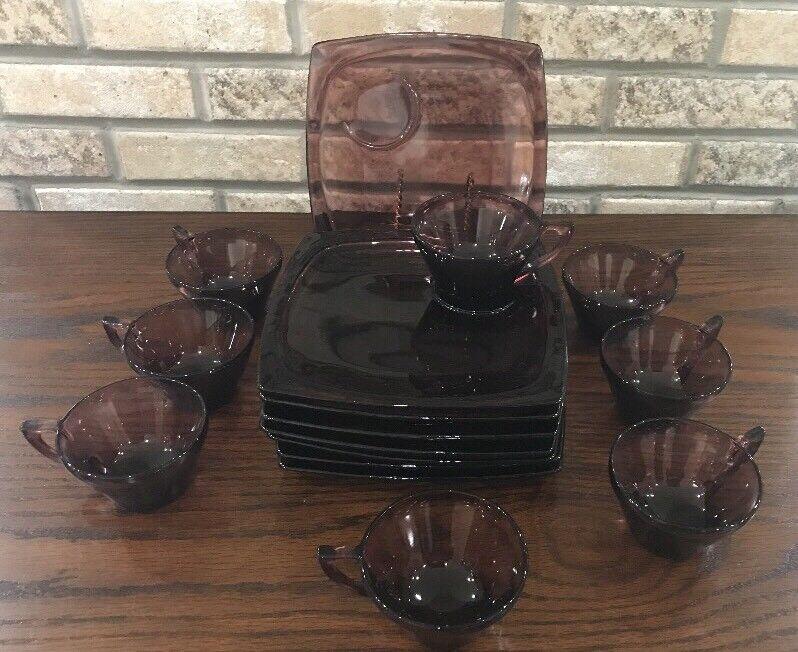"HAZEL ATLAS MOROCCAN 15 PC Amethyst Cups Plates Luncheon Dessert 8""x8"" Rare Set"