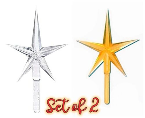 """2 PC SET of GOLD & CLEAR STAR PEGS VINTAGE CERAMIC CHRISTMAS TREE TOP 2.75"""" NEW"""