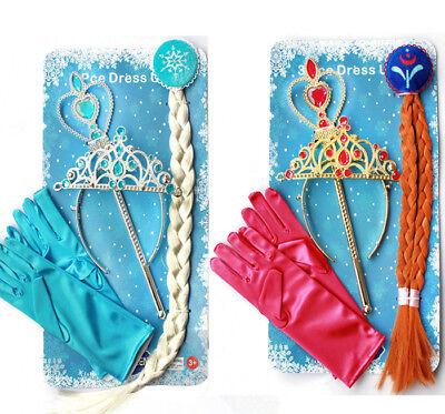 Frozen Elsa Eiskönigin Mädchen Kostüm Krone Zauberstab Handschuhe Diadem (Kostüm Krone Diadem)