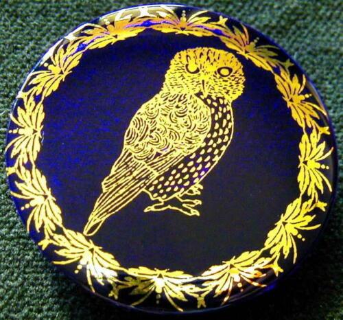 1 Czech Crystal Glass Button #B530 - XXLarge-SPARKLING 24 CARAT GOLD  OWL