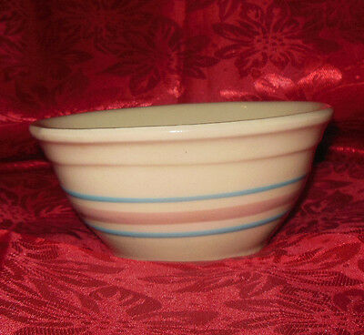 """6"""" Vintage cream banded pink and blue mixing bowl Possibly McCoy"""