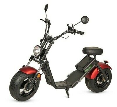 Moto electrica matriculable scooter 1200w bateria Caigiees CityCoco roja y negra
