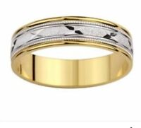 Mens white and yellow gold wedding band with inscription