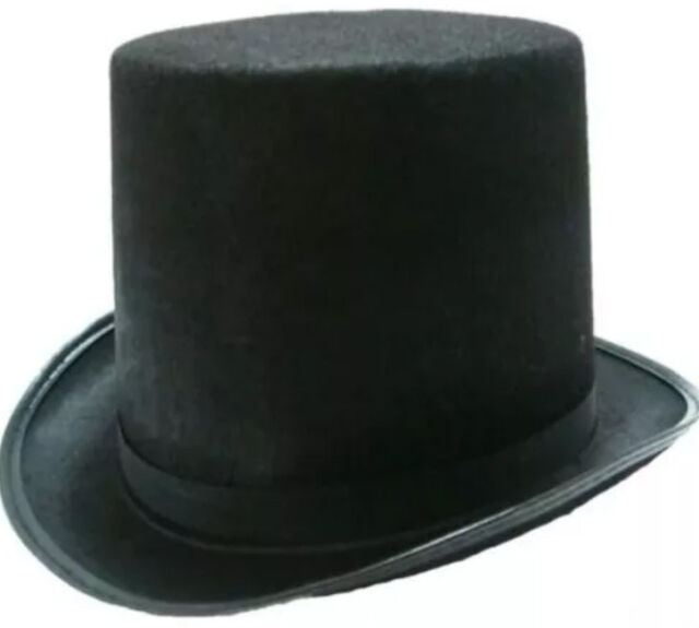 Black Top Hat Mat Hatter Party Costume Magician Wedding Fedora Book Week Formal