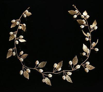 Wedding Bridal Gold Leaf Headband Hair Band Jewelry Crown Tiara Headpiece Gold K
