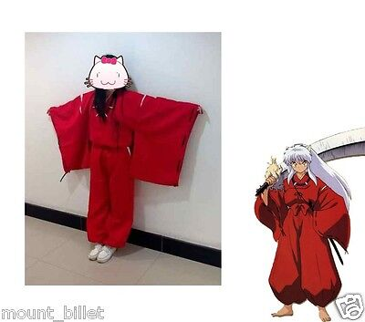 Halloween INUYASHA Bright Red Kimono Costume Cosplay Uniform size XL