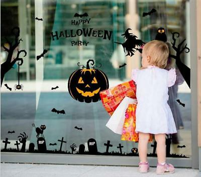 US! Happy Halloween Pumpkin Wall Sticker Home Room Window Party Decoration DIY  - Diy Halloween Wall Decorations