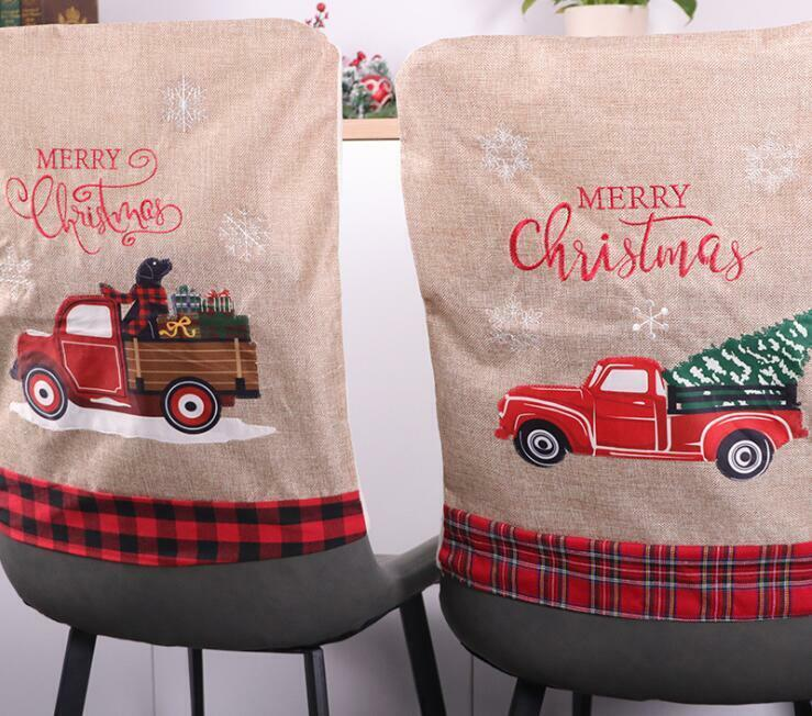 US! Christmas Country Truck Chair Covers Dining Seat Cover Party Kitchen Decor