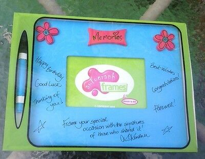 - Autograph Memories Frame with Marker Blue Pink Flowers Special Occasion Friends