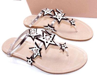 $720 Miu Miu - Prada Star Jeweled Patent Thongs Sandals Flip Flops Flats 39