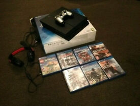 Playstation 4, turtle beach and games boxed