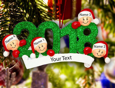 (Personalized Christmas Tree Ornament Holiday Gift Year 2018 f/ Family of 2-3-4-5)