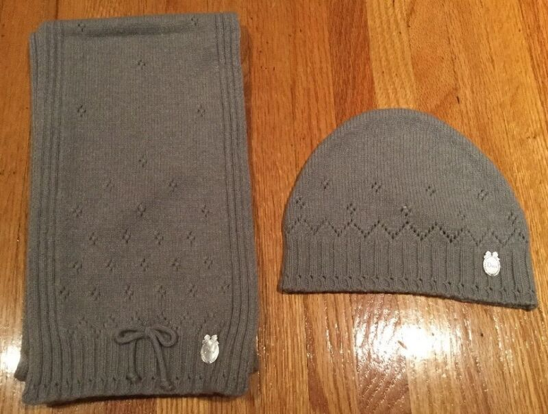 Christian Dior Toddler Kids Girls Wool Cashmere Hat & Scarf Set: Size 3