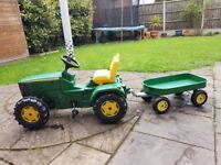 John Deere Ride-on Toy Tractor Model 6920 with trailer - much loved but good condition