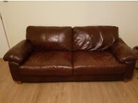 3 seat brown leather sofa - new condition - Approx £1000 new - looking for £180.00 now