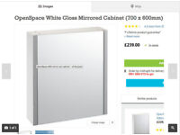 Openspace White Gloss Mirrored Cabinet
