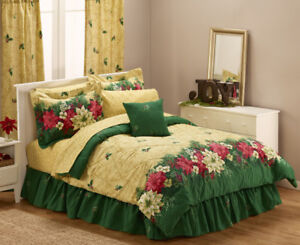 Poinsettia 8pc Bed Set - Full, New