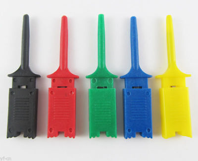 10pcs 5 Colors Grabbers Probes Smd Smt Ic Test Hook Clip Flat Small Size 49mm Us