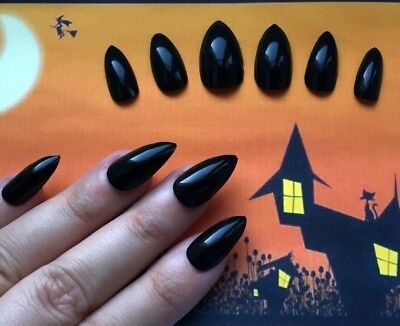 Hand Painted False Nails STILETTO (or ANY SHAPE) Gloss Black HALLOWEEN Witch UK - Halloween Stiletto Nails