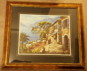 Framed print of Mediterranean seaside cafe