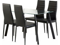 BRAND NEW glass dining table set with 4 or 6 leather cushioned chairs