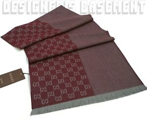 GUCCI-burgundy-gray-Wool-Jacquard-HALF-GG-mens-16x74-Muffler-Scarf-NWT-Authentic