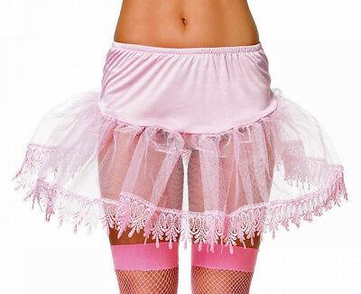 Pink Mid-Thigh Length Teardrop Lace Crinoline Petticoat, Leg Avenue 8999S, 1 Sz](Mid Length Petticoat)