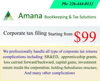 Affordable Corporate tax filing and bookkeeping services