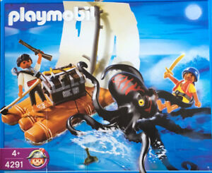 PLAYMOBIL PIRATES 4291 Giant octopus and pirate raft l near mint