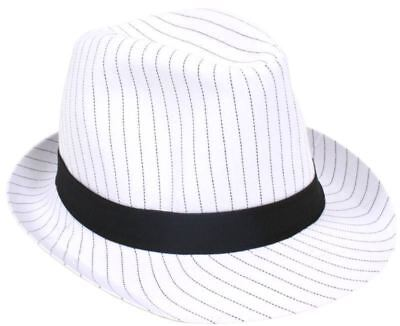 Mens Deluxe White Al Capone Fedora Pin Stripe Gangster Trilby Hat Accessory Fedora-pin